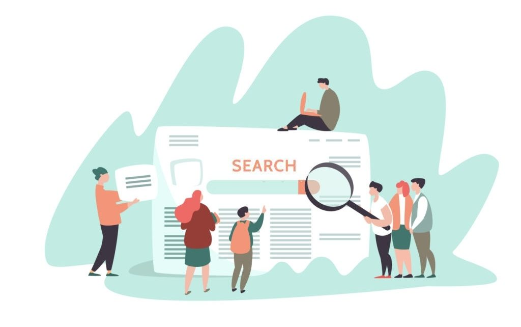 Vector illustration of small people and search engine result page . Concept search engines, seo, marketing